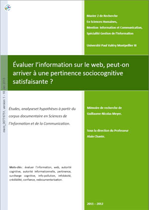 Mmoire de recherche sur l'valuation de l'information sur le web