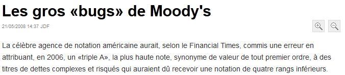 Les bugs de Moodys