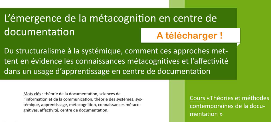 Guillaume-Nicolas Meyer - métacognition en centre de documentation